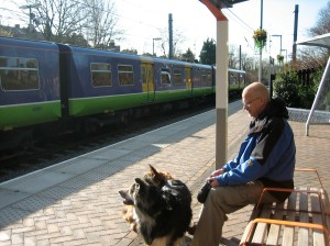 Niels and Dogs Waiting for Train
