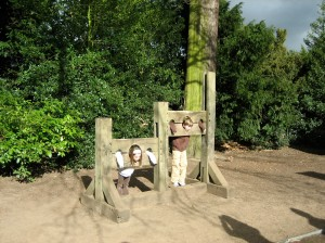 Brooke and Grant in the Stocks at Warwick Castle