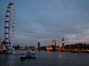 The London Eye, the Thames, and Parliament