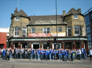 Everton Fans Preparing (by Drinking and Singing) for the Big Manchester v. Everton Football Game at the Local Pub