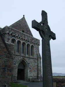 Celtic Cross Before Iona's Hermitage